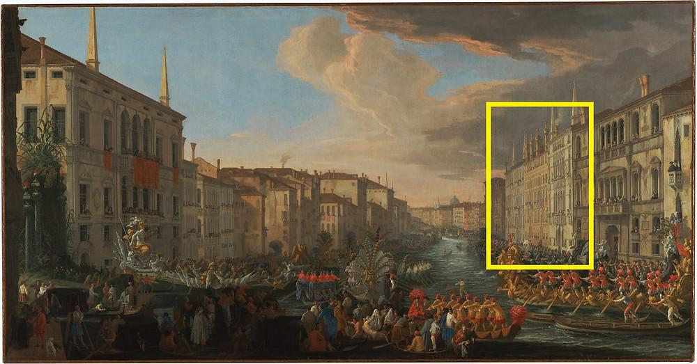 Regata en el Gran Canal en honor de Federico IV (el cuadrado amarilla señala los palacios Mocenigo