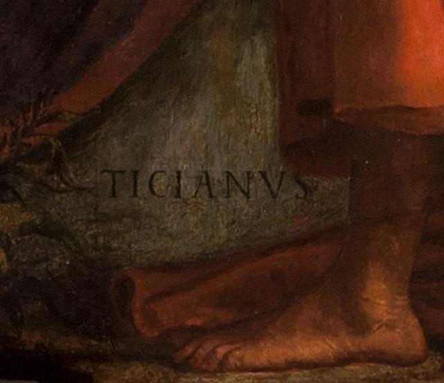 """""""TICIANUS"""", firma de Tiziano en el cuadro"""