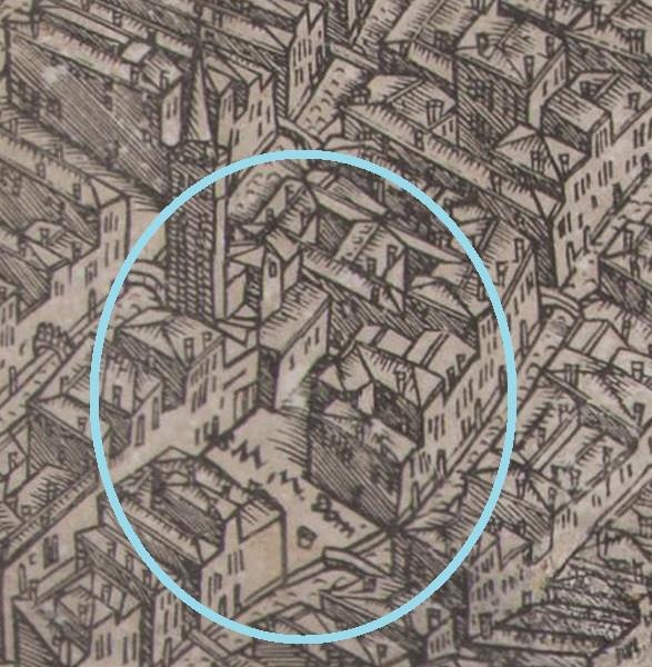 Detalle de Santa María Mater Domini del mapa de Barbari
