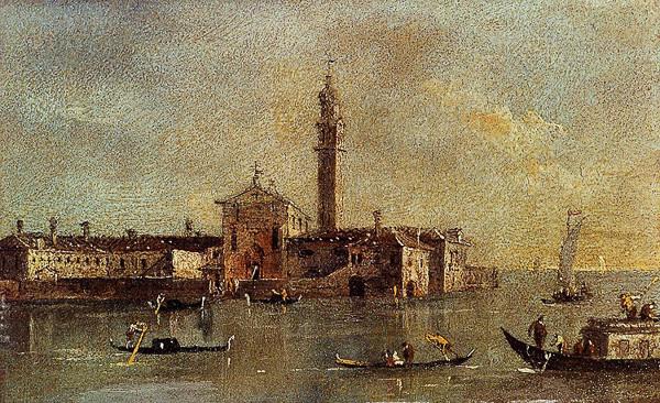 La isla de San Giorgio in Alga en cuadro de Guardi