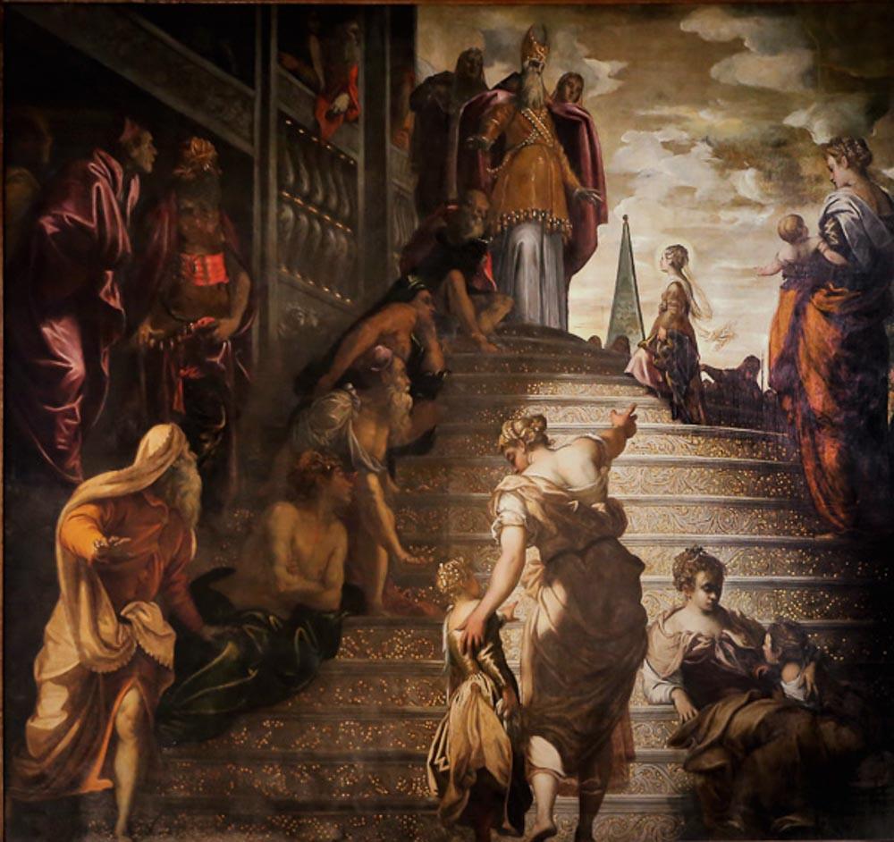 """Detalle del cuadro """"Presentación de la Virgen en el Templo"""""""