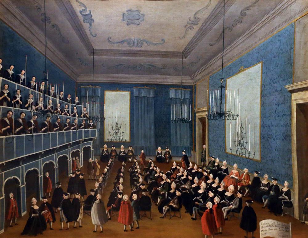 Cuadro de Gabriel Bella, con las chicas del orfanato cantando para el duque del norte (1779-1792)