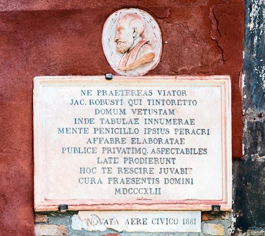 Aquí vivió Tintoretto: placa conmemorativa