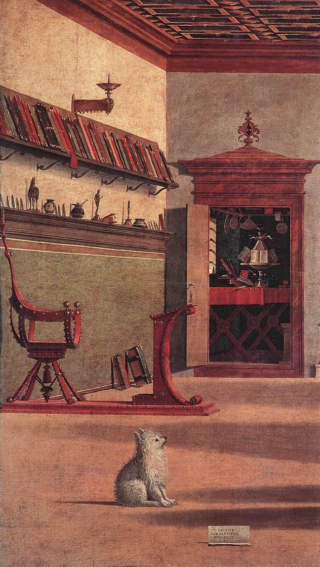 Detalle objetos cotidianos en San Agustín en el estudio (1502)