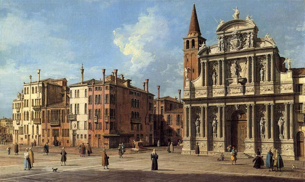 Cuadro de Canaletto (1730) donde a la izquierda de la iglesia se ve el campanario, hoy demolido