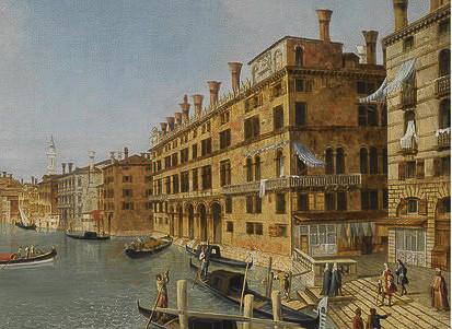 El Fondaco dei Tedeschi en cuadro donde se vislumbran los frescos