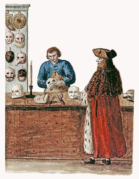 Taller de máscaras, grabado de Giovanni Grevembroch