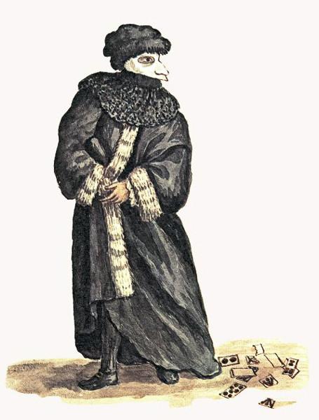 Noble con máscara- Grabado de Giovanni Grevembroch