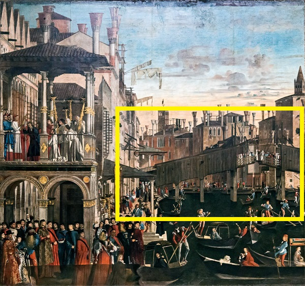 El puente de Rialto de madera de 1458, con la parte móvil en el centro para permitir el tránsito de barcos más grandes (cuadro de Vittore Carpaccio)