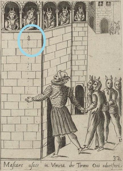 """Este grabado muestra el """"huevo"""" que lanza un enmascarado a las damas"""