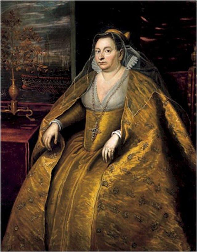 La Dogaressa Morosina Morosini, esposa del dux Marino Grimani, en cuadro de Tintoretto (1597)