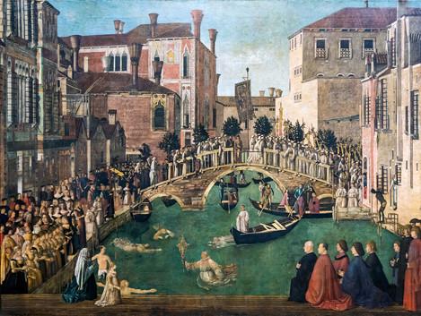 Milagro de la reliquia de la Santa Cruz en el puente de San Lorenzo, Bellini