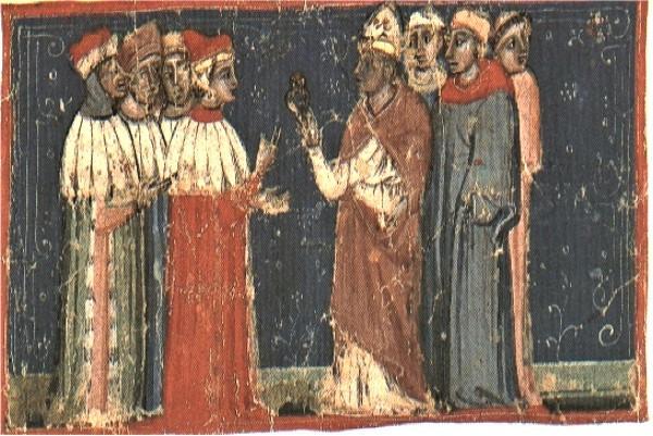 El Papa Alejandro III entrega el anillo al dux Sebastiano Ziani, miniatura (Venecia, Museo Correr)