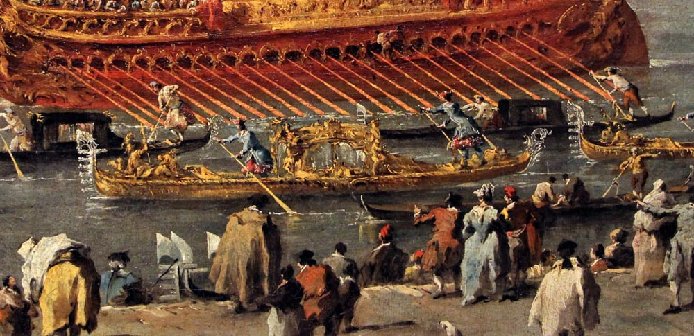 """Felze suntusoso decorado en oro, en el cuadro de Guardi """"Salida del Bucintoro en la fiesta de la Ascensión"""""""
