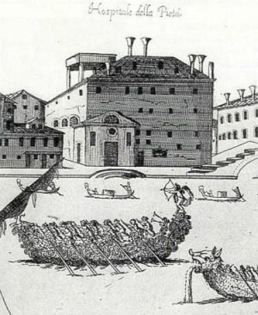 Grabado antiguo del Ospedale della Pietá