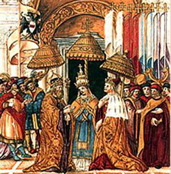 El emperador del Sacro Imperio Romano Federico Barbarroja y el Papa Alejandro III firman la denominada Paz de Venecia. Se reconoce a Alejandro III como Papa