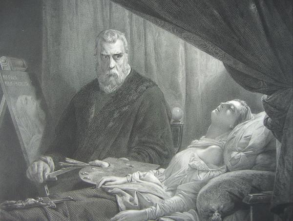 Tintoretto pintando ante su hija muerta (León Cogniet, 1843)
