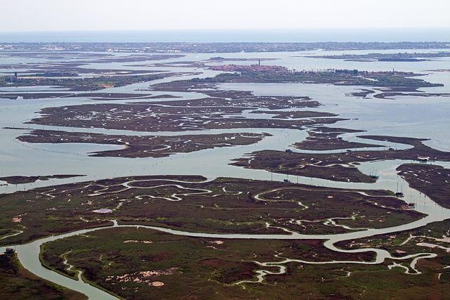 Marismas y zonas pantanosas en la laguna de Venecia