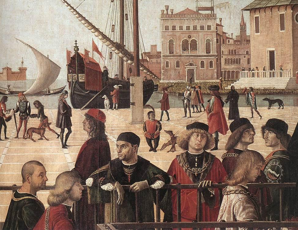 Detalle vestimenta veneciana en Llegada embajadores ingleses