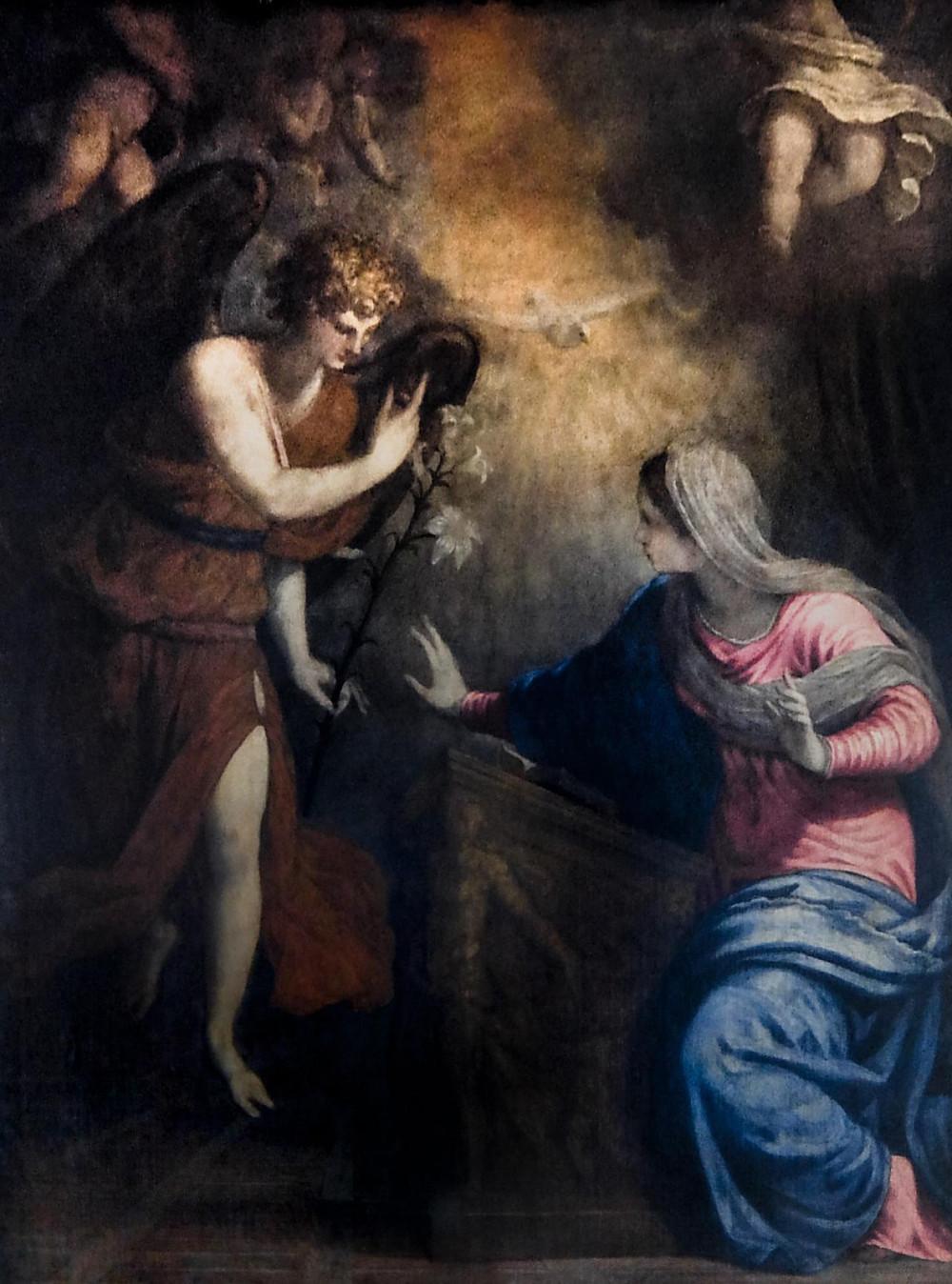 Cuadro de la Anunciación de Salviati en el que el Arcangel Grabriel entrega un lirio (GIGLIO, en italiano) a la Virgen María