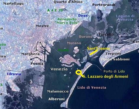 Mapa de donde fue visto hace unos días (en la isla de Sant'Erasmo y donde llegó (San Lazzaro degli Armeni). Ambas islas de la Laguna de Venecia distan unos 6 kilómetros.