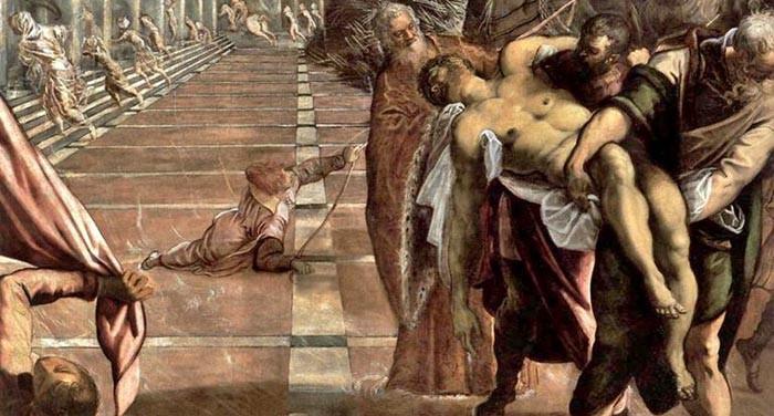 Detalle del robo del cuerpo de San Marcos, detalle del cuadro de Tintoretto