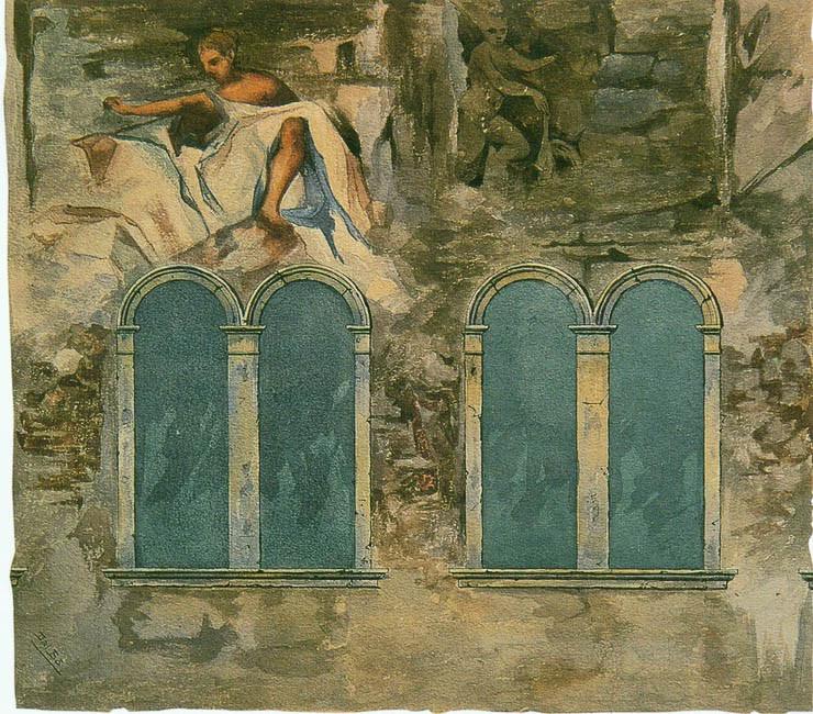 Un boceto en acuarela del siglo XIX de los frescos del artista Zaccaria dal Bo