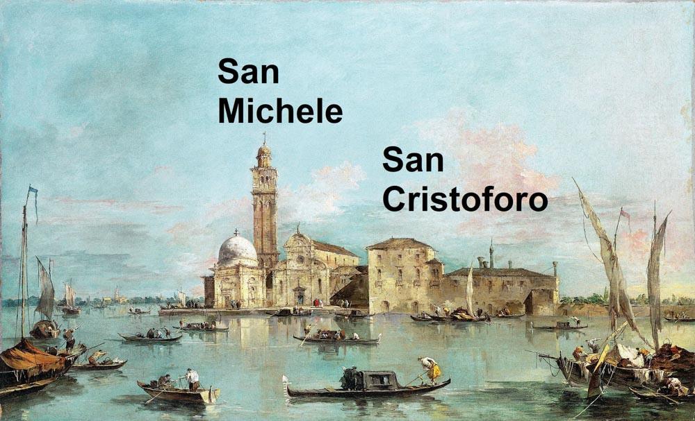 Las islas de San Michele y San Cristoforo en cuadro de Guardi (siglo XVIII) que fueron unidas en el siglo XIX para formar el cementerio de Venecia