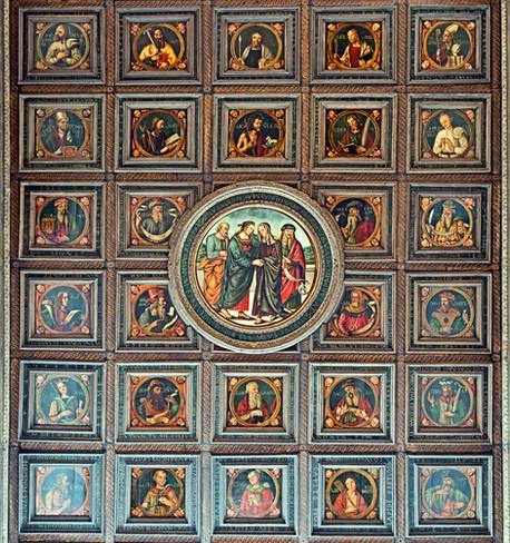 Detalle techo con 58 paneles de santos