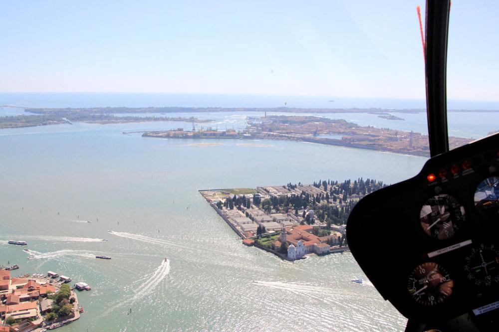 La laguna de Venecia desde el helicóptero