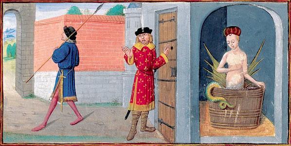 """Orio descubre a Melusina. Foto del libro """"el Romance de Melusina"""", en el que se basa esta historia qeu Jean d'Arras escribió en 1393."""