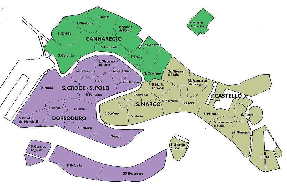 """Mapa de las """"Parrocchias"""" de Venecia"""