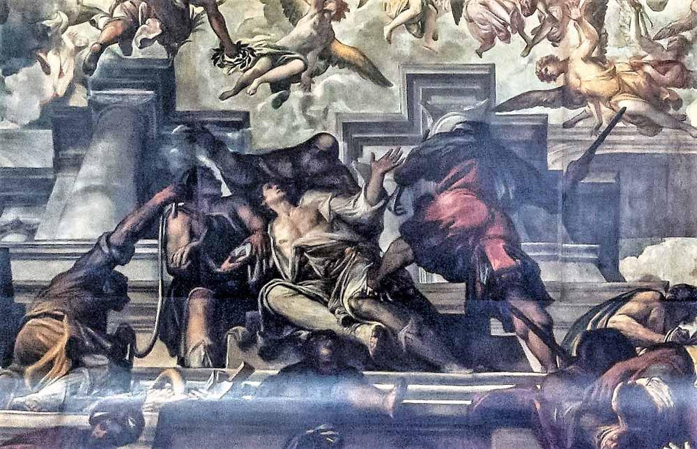 El martirio de San Pantaleón: los verdugos rodean a Pantaleon exhibiendo los instrumentos de la tortura: un palo, una cuerda, un gancho.