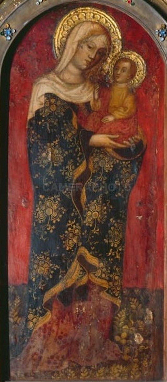 8 Detalle de la pintura de la Virgen milagrosa con el Niño de Nicolo di Petro