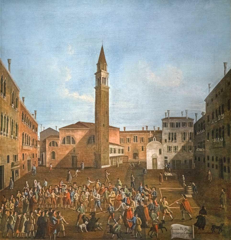"""La caza del Oso en el campo de Sant'Angelo (las plazas se llaman """"campos"""" en Venecia), cuadro de Gabriel Bella"""