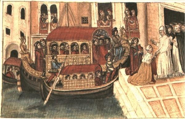 El Dux Sebastiano Ziani desembarca del Bucintoro, miniatura (Venecia, Museo Correr)