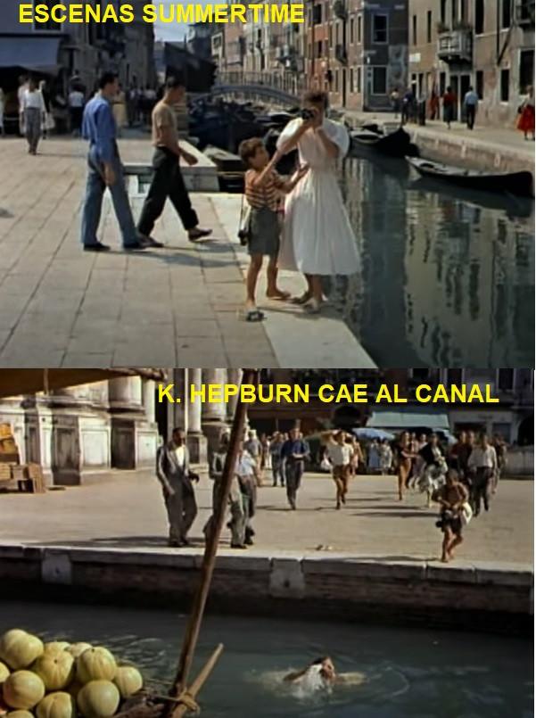 Después Katharine se va echando hacia atrás hasta caer al canal (el Río de San Barnaba)