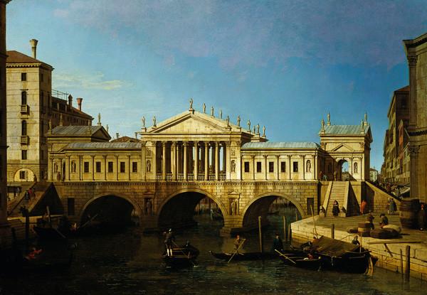 Canaletto imaginó este Puente de Rialto de acuerdo con la reestructuración del siglo XVI propuesta pero nunca construida por Andrea Palladio.