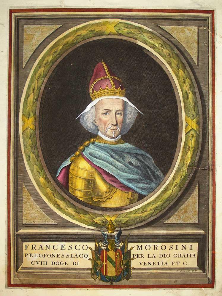 Grabado en cobre con acuarela de Francesco Morosini (Coronelli)