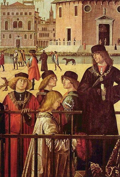 La llegada de los embajadores ingleses de Carpaccio (1495) mostrando un miembro de la calza en el centro con la insignia de su compañía