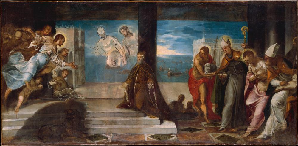 Dux Alvise Mocenigo (1507-1577) presentado al Redentor. La Batalla de Lepanto de 1571, se representa con los buques en el fondo