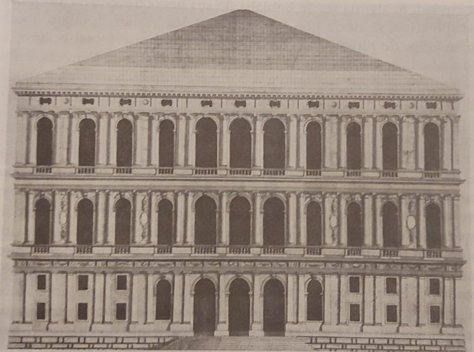 Proyecto original del palacio (se dejaron dos plantas por construir)