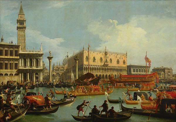 El Bucintoro regresando al muelle el día de la Ascensión- CANALETTO (1728)