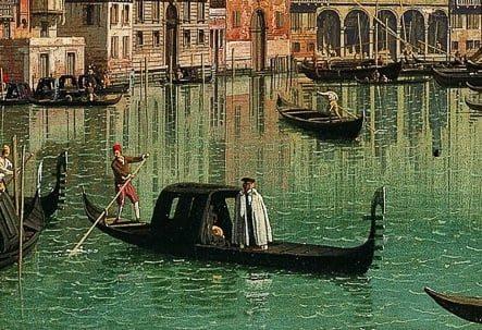 Góndola cubierta (con felze) en cuadro de Canaletto, siglo XVIII