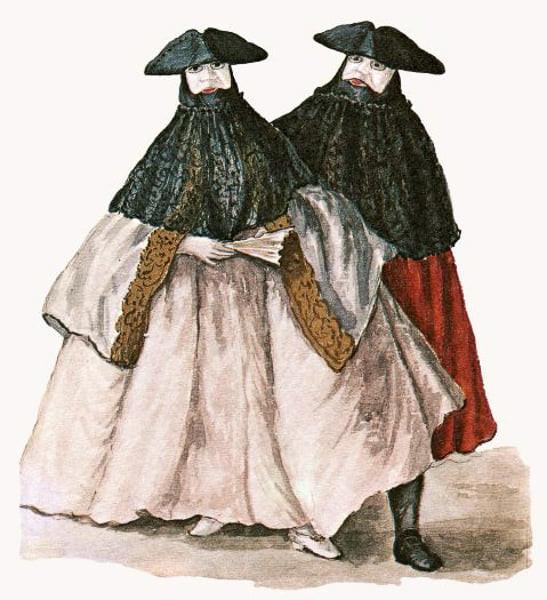 Enmascarados con Bauta y Tabarro. Grabado del siglo XVIII de Giovanni Grevembroch.