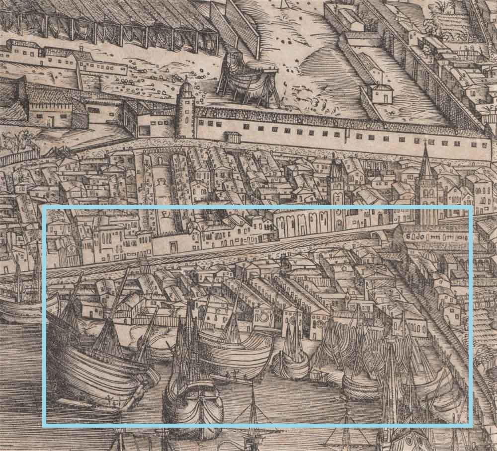 Los astilleros en el mapa de Barbari (1500)