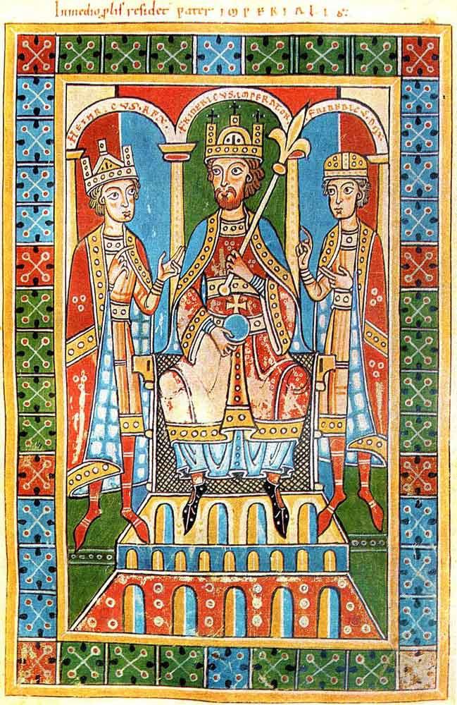 Federico Barbarroja, con su hijo Enrique VI y el Duque Federico V de Suabia, ilustración de la Crónica de los güelfos. (Abadía Weingarten, 1179-1191).