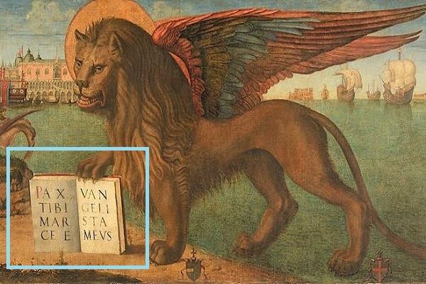 El león alado de Venecia: símbolo de la antigua República de Venecia sujetando su lema con la garra