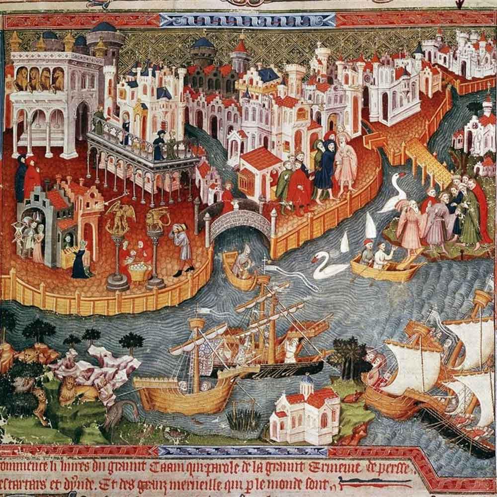 Pintura que representa a Marco Polo abandonando Venecia (siglo XIII)