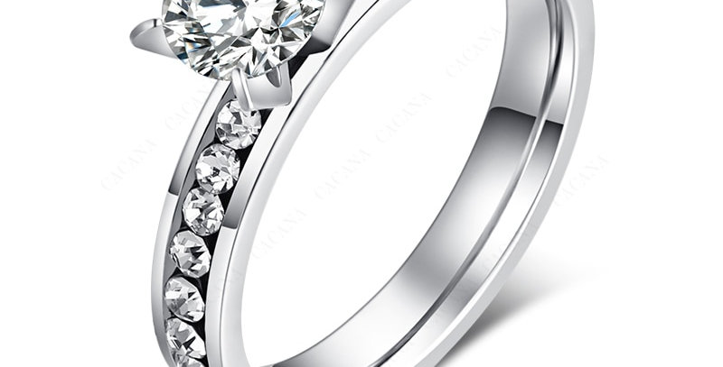CACANA  Stainless Steel Rings for Women Circle CZ Fashion Jewelry Wholesale 2021